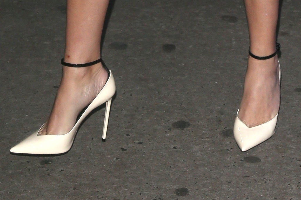 Reese Witherspoon', celebrity style, feet, shoe style, white pumps, ankle strap pumps, good morning america, gma, nyc