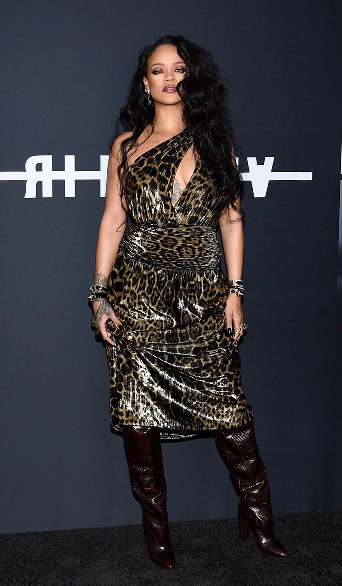 """saint laurent leopard print dress, Rihanna attends the """"Rihanna"""" book launch event at the Guggenheim Museum, in New York""""Rihanna"""" Book Launch Event, New York, USA - 11 Oct 2019"""