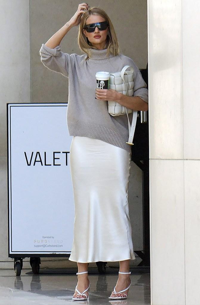 Rosie Huntington-Whiteley , los angeles, october 2019, celebrity style, Bazilika dress, midi dress, turtleneck, Bazilika sweater, bottega veneta sandals, thong high heels, high heeled flip flops, victoria beckham sunglasses, Rosie Huntington-WhiteleyRosie Huntington-Whiteley out and about in Los Angeles, USA - 27 Oct 2019