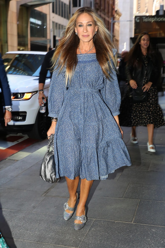 Sarah Jessica Parker, floral dress, legs, celebrity style, blond hair, silver purse, mary janes, silver pumps, crystals, pictured on arrival at David Jones store in Sydney for her shoe launch.Pictured: Sarah Jessica ParkerRef: SPL5123396 201019 NON-EXCLUSIVEPicture by: KHAPGG / SplashNews.comSplash News and PicturesLos Angeles: 310-821-2666New York: 212-619-2666London: +44 (0)20 7644 7656Berlin: +49 175 3764 166photodesk@splashnews.comWorld Rights, No Australia Rights, No Austria Rights, No Germany Rights, No New Zealand Rights, No Switzerland Rights