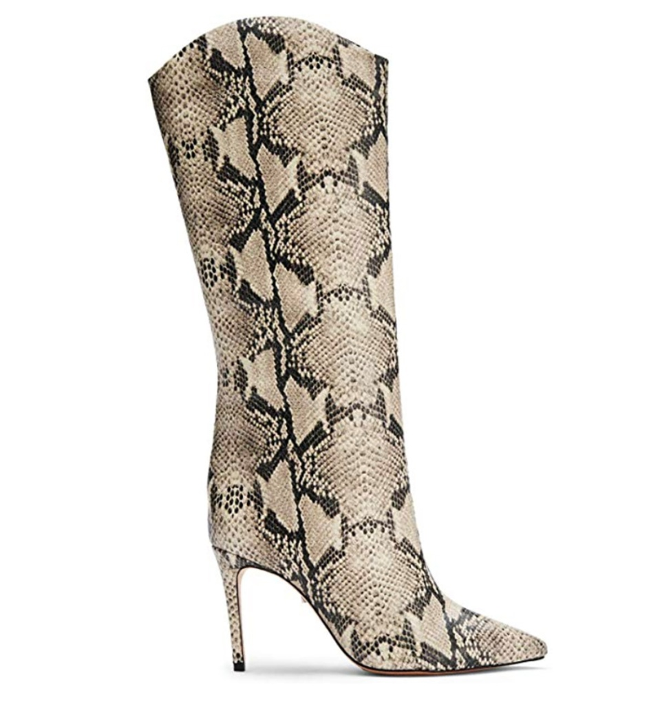 SCHUTZ Women's Maryana, snakeskin boot, natural snakeskin