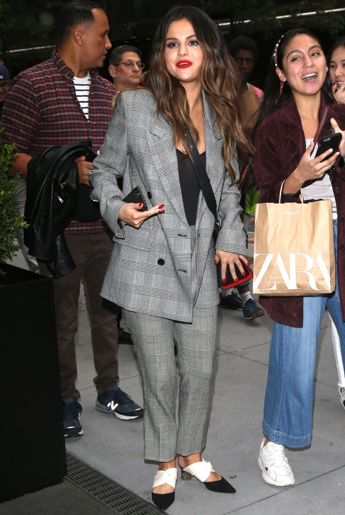 Selena Gomez, frame, pantsuit, blazer, trousers, black and white, proenza schouler shoes, mules, Selena Gomez out and about, New York, USA - 28 Oct 2019