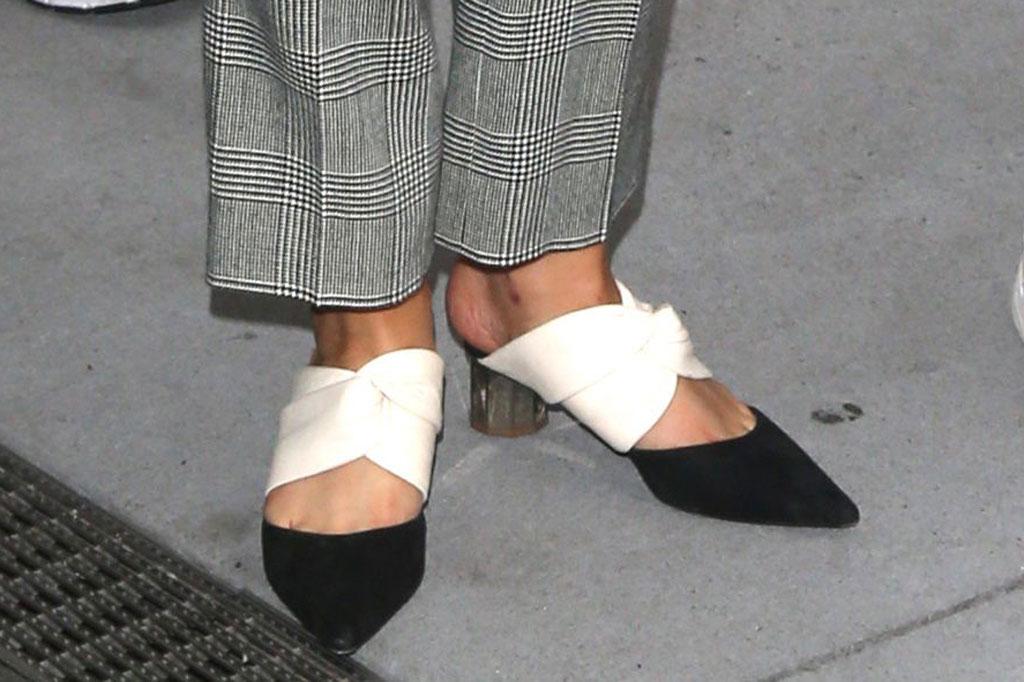 selena gomez, proenza schouler, black and white, mules, street style,