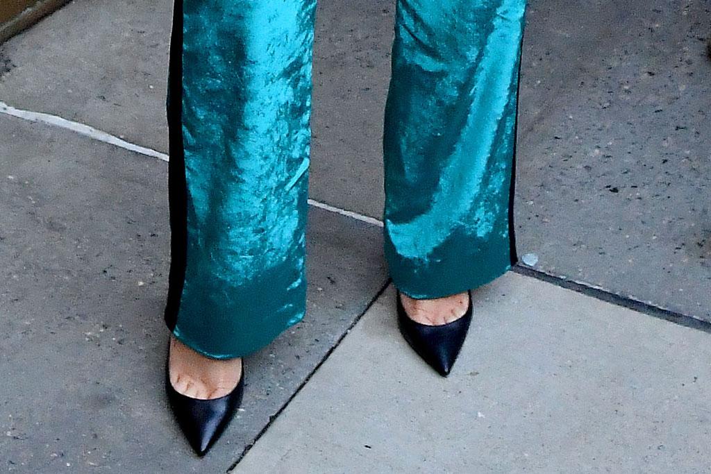 Selena Gomez, sies marjan, pantsuit, velvet suit, celebrity style, z100, nyc