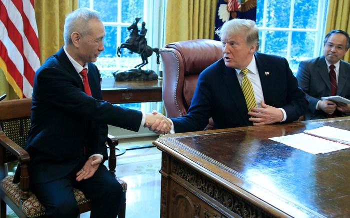 Donald Trump, Liu He. President Donald Trump meets China's Vice Premier Liu He in the Oval Office of the White House in WashingtonTrump US China, Washington, USA - 04 Apr 2019