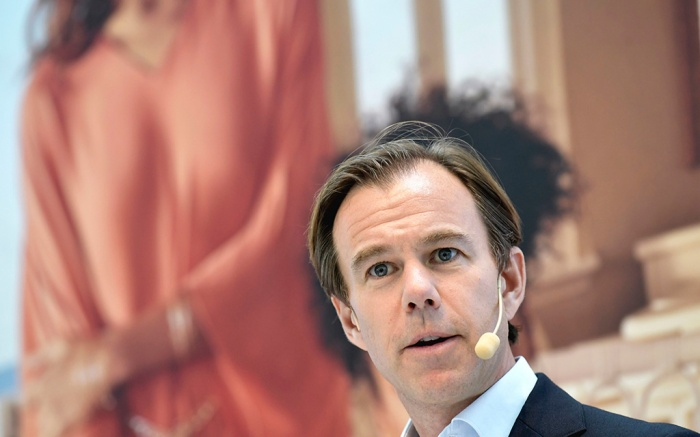 Swedish retailer Hennes and Mauritz AB chief executive officer (CEO) and president Karl-Johan Persson present the company's sales report during a press conference in Stockholm, Sweden, 27 June 2019.Hennes and Mauritz, Stockholm, Sweden - 27 Jun 2019