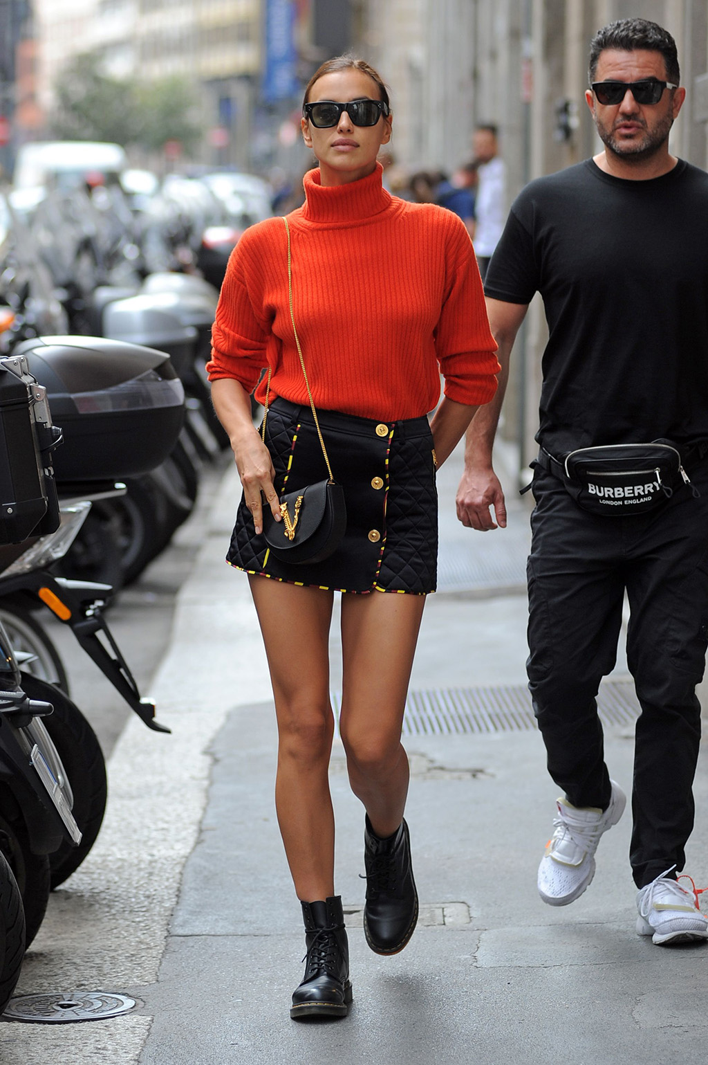 Irina Shayk, Versace outfit, dr. Martens boots, legs, goes shopping at the Bottega Veneta boutique on Via Monte NapoleoneIrina Shayk out and about, Milan Fashion Week, Italy - 19 Sep 2019Wearing Versace