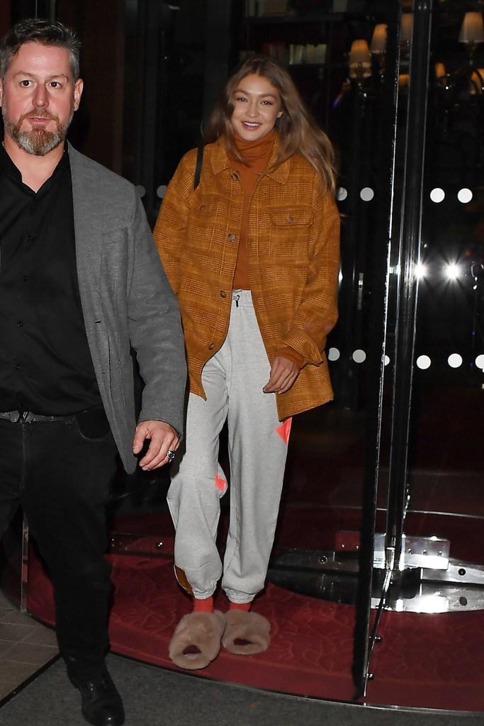 Gigi HadidGigi Hadid out and about, Paris Fashion Week, France - 28 Sep 2019, sweats, fluffy slides, opening ceremony jacket,