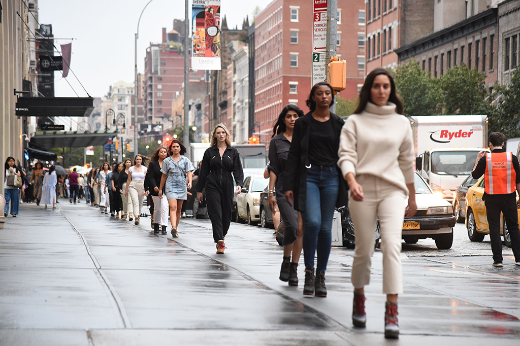 Atmosphere during the SOREL Mile-Long Runway event styled by Kate Young, showcasing SOREL Fall 19 Collection on 100 NYC women, held at Highline Stages, New York, NY @SORELfootwear #MILELONGRUNWAY #SORELstyleSOREL Mile-Long Runway, New York, USA - 02 Oct 2019