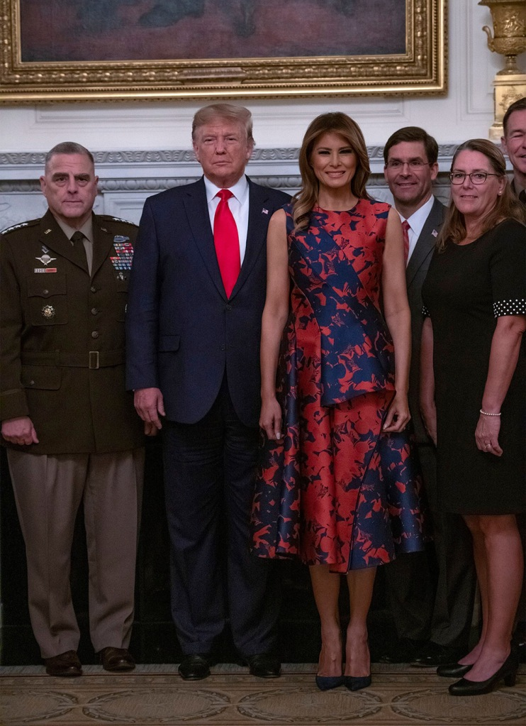 melania trump, White House, celebrity style, blue and orange floral dress, manolo blahnik bb pumps, shoe style, (L-R) US Army General Mark A. Milley, US President Donald J. Trump, First Lady Melania Trump, US Secretary of Defense Dr. Mark T. Esper and his wife Leah Esper pose during a photo op with senior military leaders and their spouses in the State Dining Room of the White House in Washington, DC, USA, 07 October 2019.Trump Briefing with Senior Military Leaders, Washington, USA - 07 Oct 2019
