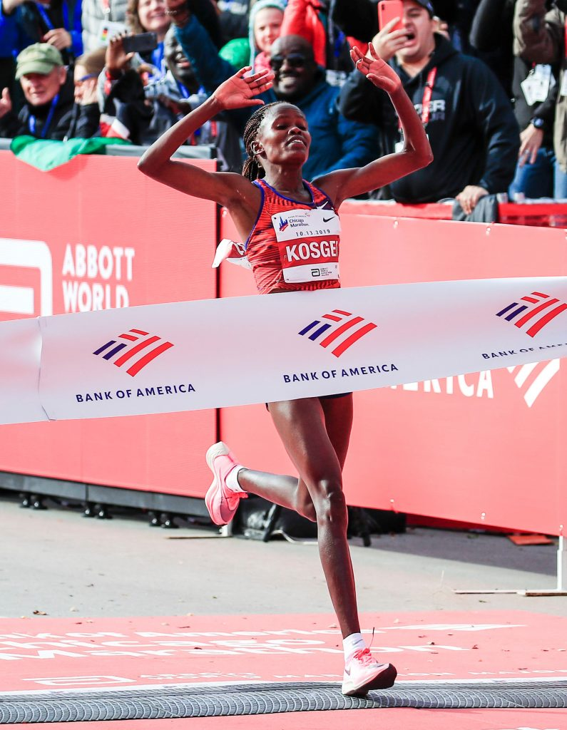 Brigid Kosgei of Kenya crosses the finish line to win with a women world record time of 02:14:04 in the 2019 Chicago Marathon in Chicago, Illinois, USA, 13 October 2019. The Chicago Marathon, first run in 1977, is one of six World Marathon Majors and allows up to 45,000 runners to participate.2019 Chicago Marathon, USA - 13 Oct 2019