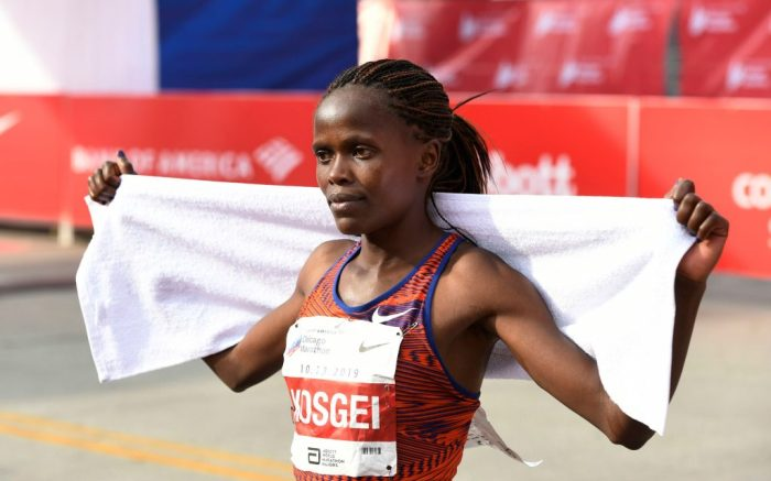 Brigid Kosgei of Kenya, poses after winning the Women's Bank of America Chicago Marathon while setting a world record of 2:14:04, in ChicagoMarathon, Chicago, USA - 13 Oct 2019
