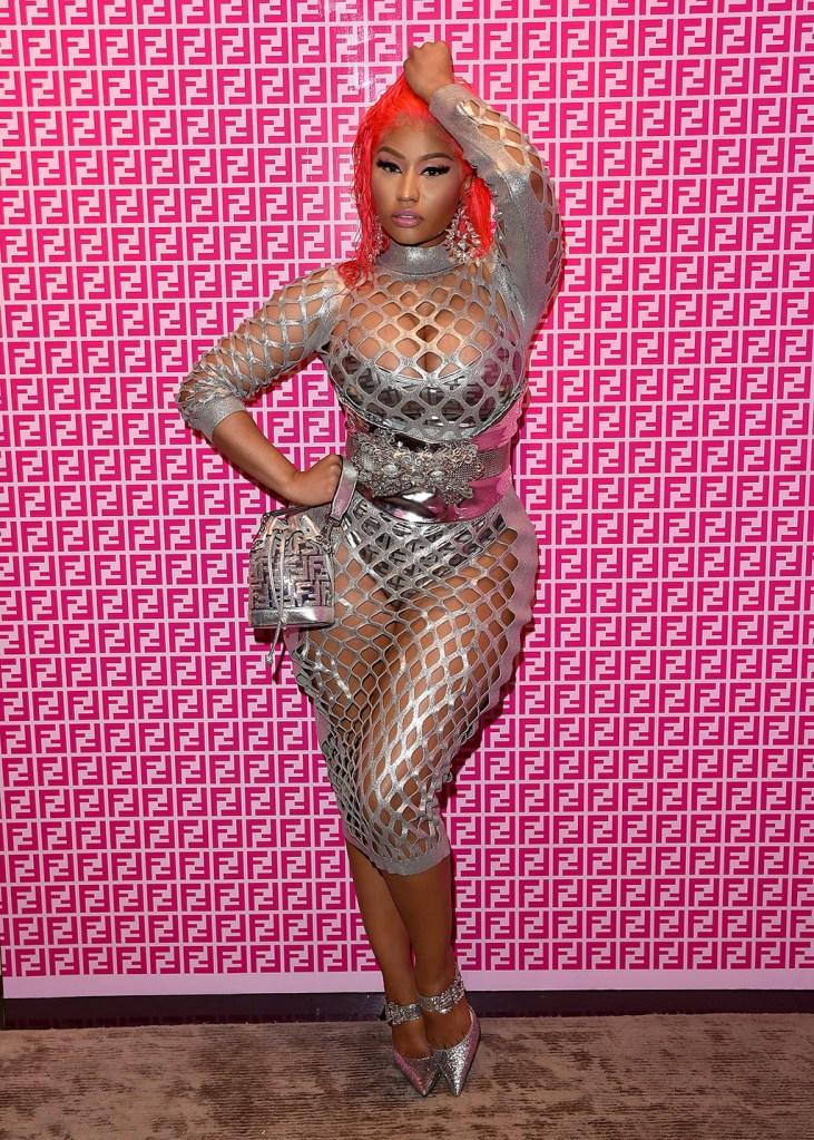 Nicki Minaj, fendi prints on, fishnet dress, silver outfit, glittery pumps, bodysuit, wig, attends FENDI Prints On, held at FENDI, Beverly Hills, CA #FENDIPrintsOn #FFSeries @FendiFENDI Prints On, Beverly Hills, Los Angeles, USA - 15 Oct 2019Wearing Fendi