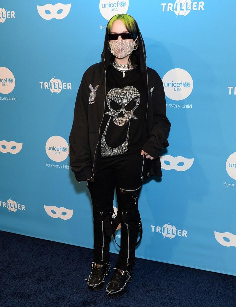 Billie Eilish, skull t shirt, black pants, UNICEF Masquerade Ball, Los Angeles, USA - 26 Oct 2019