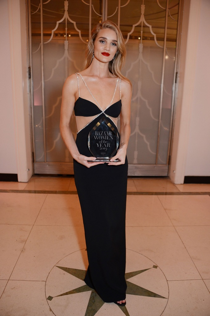 Rosie Huntington-Whiteley, david koma dress, abs, cut-out detailing, blond hair, celebrity style, winner of the Editor's Choice awardHarper's Bazaar Women of the Year Awards, Claridge's, London, UK - 29 Oct 2019Wearing David Koma