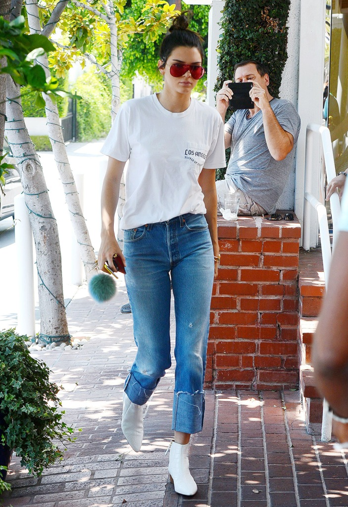 Kendall Jenner, white boots, the row, booties, levis jeans, white t shirt, Kendall Jenner out and about, Los Angeles, USA - 22 Aug 2016Kendall Jenner goes shopping at Fred Segal in West Hollywood WEARING LEVI'S JEANS BOOTS BY THE ROW