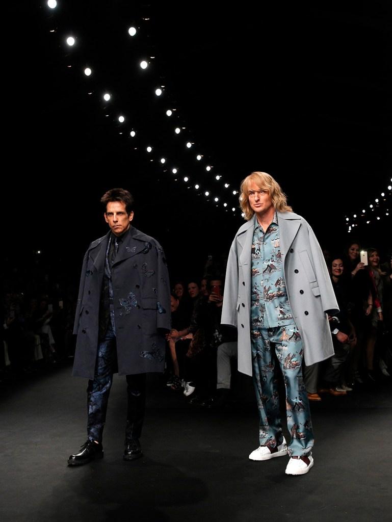 Actors Ben Stiller, left, and Owen Wilson wear creations for Valentino's fall-winter 2015-2016 ready to wear fashion collection, presented at Paris fashion week, Paris, FranceParis Fashion Photo Gallery, Paris, France