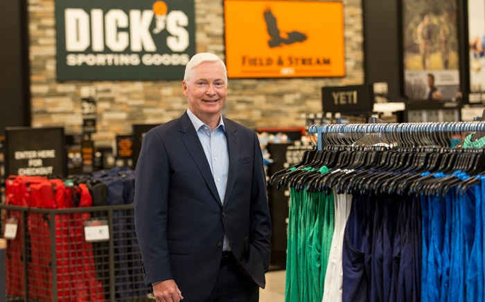 In this Oct. 18, 2016, photo, Chairman and CEO of DICK'S Sporting Goods Edward W. Stack poses for a photo as he visits a new store at the Baybrook Mall in the Houston. Stack is issuing a letter, about his decision to end the sale of assault-style weapons and high-capacity magazines at storesDicks Rifle Sales Letter, Houston, USA - 18 Oct 2016