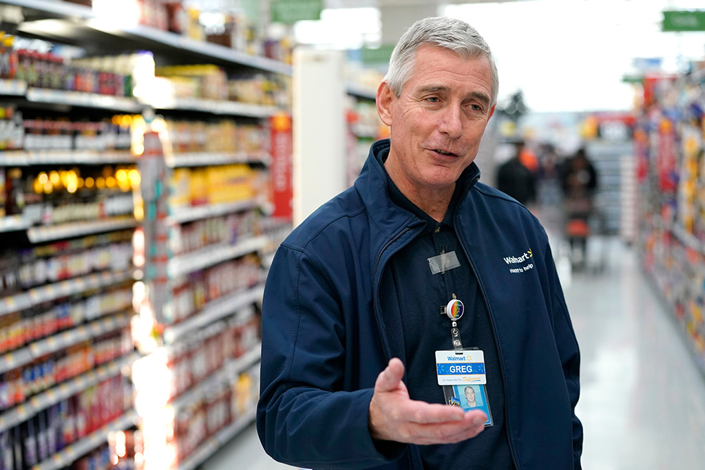 Walmart U.S. President and CEO Greg Foran talks about the technology the company is using to keep shelves stocked at a Walmart Supercenter, in HoustonEarns Walmart, Houston, USA - 09 Nov 2018