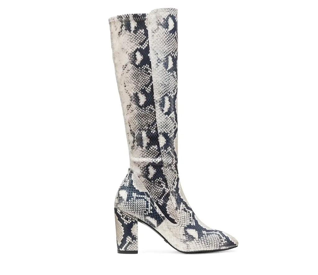 Stuart Weitzman, Livia 80 boot, white boot, snakeskin boot