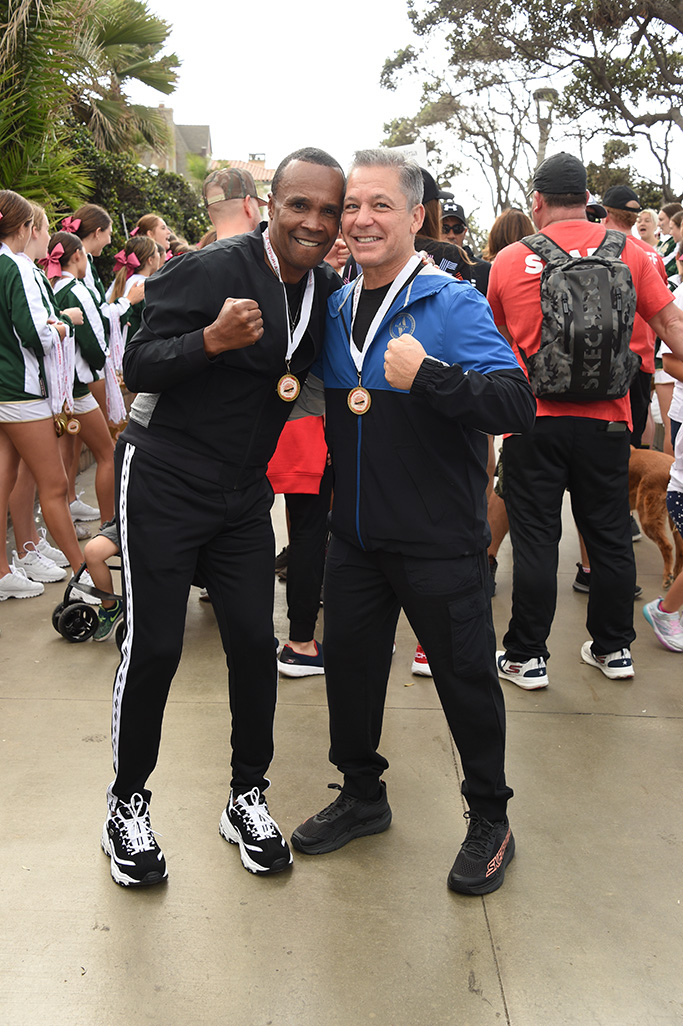MANHATTAN BEACH, CALIFORNIA - OCTOBER 27: (L-R) Sugar Ray Leonard and President of Sketchers USA Michael Greenberg attend the 11th Annual Skechers Pier To Pier Friendship Walk on October 27, 2019 in Manhattan Beach, California. (Photo by Gregg DeGuire/Getty Images for Skechers)