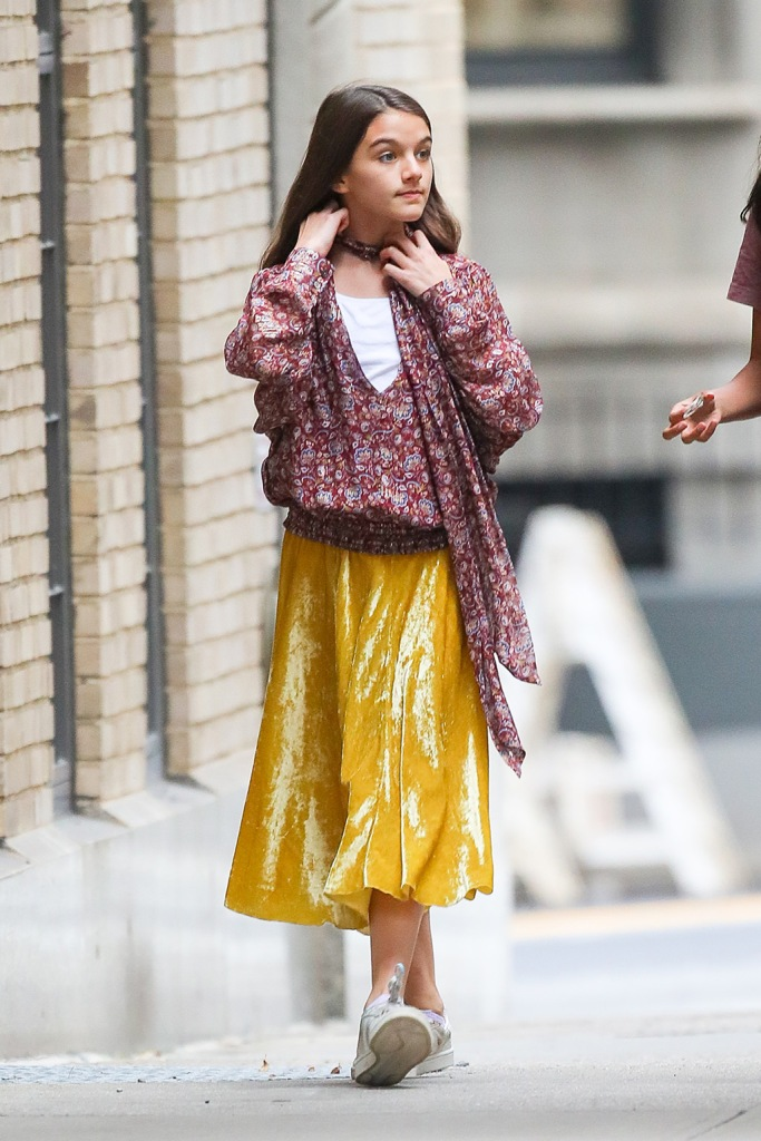 Suri Cruise, yellow midi skirt, Adidas gazelle sneakers, boho style, Burgundy top, street style, celebrity style, fashion, was spotted all playful while out and about with a friend on Monday afternoon in NYCPictured: Suri CruiseRef: SPL5119695 300919 NON-EXCLUSIVEPicture by: Felipe Ramales / SplashNews.comSplash News and PicturesLos Angeles: 310-821-2666New York: 212-619-2666London: +44 (0)20 7644 7656Berlin: +49 175 3764 166photodesk@splashnews.comWorld RightsSuri Cruise was spotted all playful while out and about with a friend on Monday afternoon in NYCPictured: Suri CruiseRef: SPL5119695 300919 NON-EXCLUSIVEPicture by: Felipe Ramales / SplashNews.comSplash News and PicturesLos Angeles: 310-821-2666New York: 212-619-2666London: +44 (0)20 7644 7656Berlin: +49 175 3764 166photodesk@splashnews.comWorld Rights