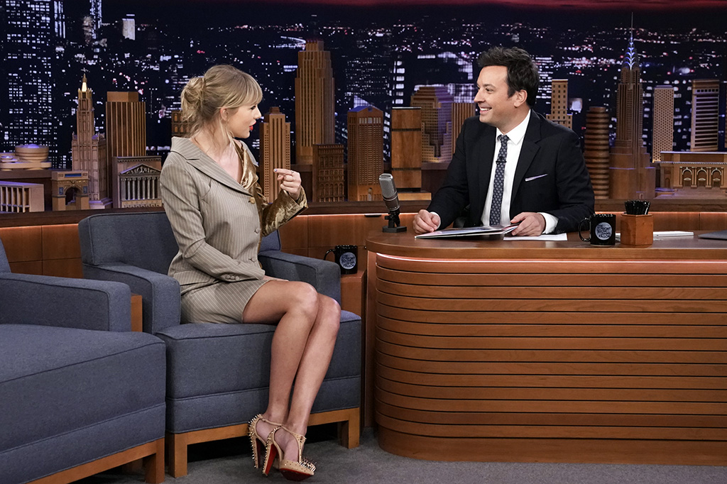 each other blazer dress, Goldostrap nude T-strap pumps, spikes, shoes,THE TONIGHT SHOW STARRING JIMMY FALLON -- Episode 1132 -- Pictured: (l-r) Singer-songwriter Taylor Swift during an interview with host Jimmy Fallon on October 3, 2019 -- (Photo by: Andrew Lipovsky/NBC)