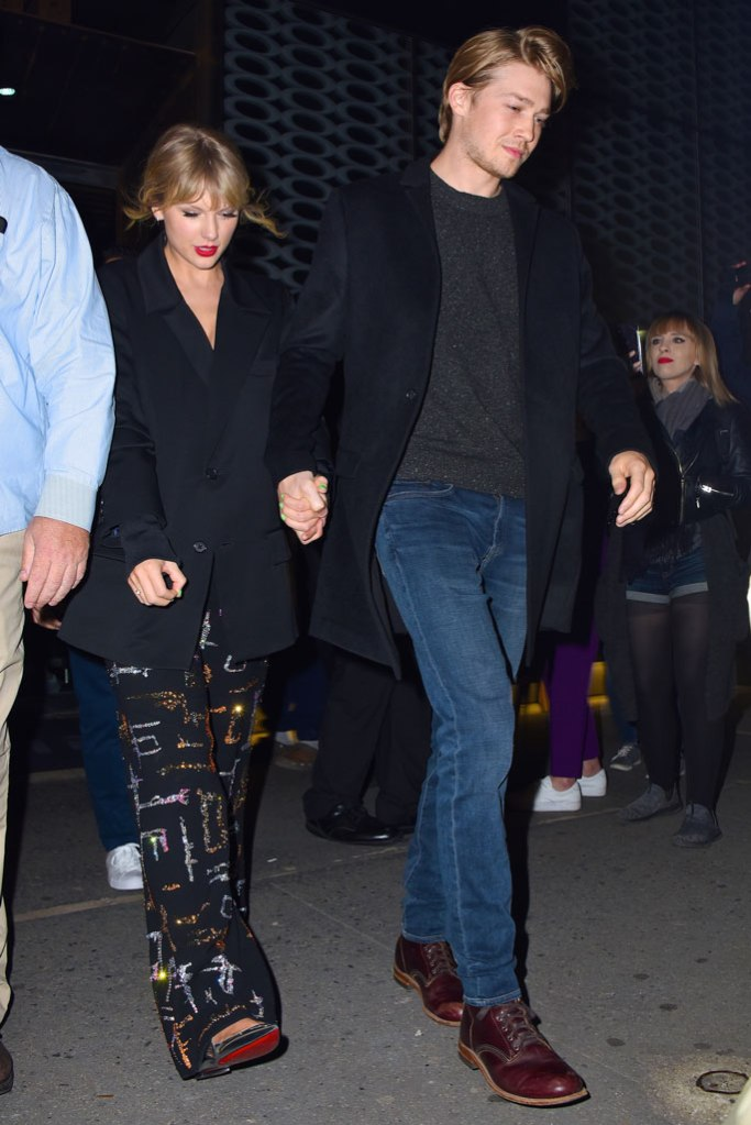 Taylor Swift, libertine pants, sparkly pants, ambush blazer, oversized black blazer, louboutin shoes, silver shoes, celebrity style, snl, Saturday night live, after party, boyfriend, nyc