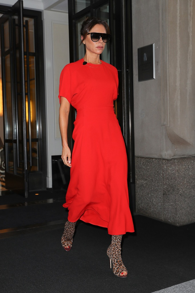 Victoria Beckham, leopard-print boots, stilettos, peep-toe boots, shoe style, pedicure, red nail polish, toes, red dress, Victoria Beckham looks radiant in a red dress with a leopard print open toe shoes while hading to the Live with Kelly and RyanPictured: Victoria BeckhamRef: SPL5122574 161019 NON-EXCLUSIVEPicture by: Felipe Ramales / SplashNews.comSplash News and PicturesLos Angeles: 310-821-2666New York: 212-619-2666London: +44 (0)20 7644 7656Berlin: +49 175 3764 166photodesk@splashnews.comWorld Rights