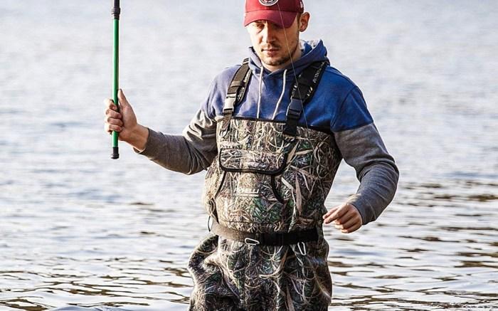 man fishing in waders