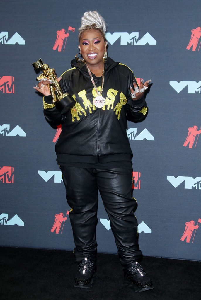 Missy Elliott, tracksuit, sneakers, red carpet, celebrity style, MTV Video Music Awards, Press Room, Prudential Center, New Jersey, USA - 26 Aug 2019