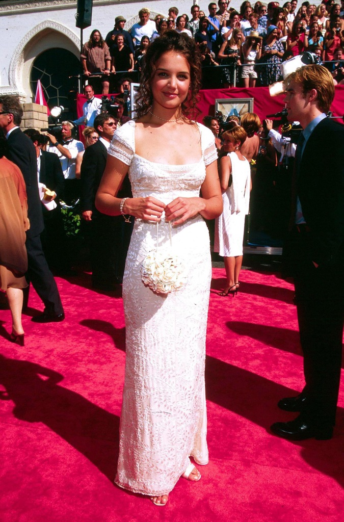 KATIE HOLMES, celebrity style, red carpet, white gown, AT EMMY AWARDS 1998EMMY AWARD, LOS ANGELES, CALIFORNIA, AMERICA - 1998