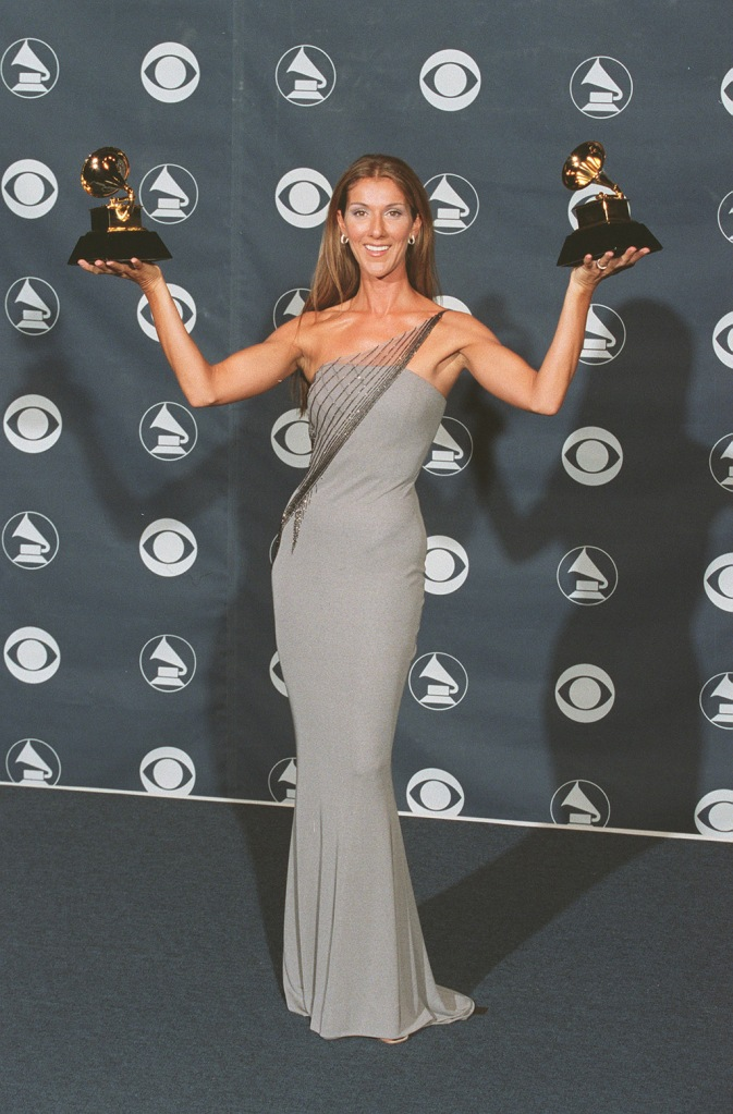Celine Dion, gray gown, celebrity style, red carpet, grammys, 41ST ANNUAL GRAMMY AWARDS AT THE SHRINE AUDITORIUM, LOS ANGELES, AMERICA - 24 FEB 1999February 24, 1999: Los Angeles, CA Celine Dion41st annual Grammy Awards Shrine Auditorium in Los Angeles. Photo by Eric Charbonneau ® Berliner Studio/BEImages