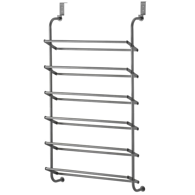 MyGift Black Metal Wall Mounted Boots and Shoe Rack