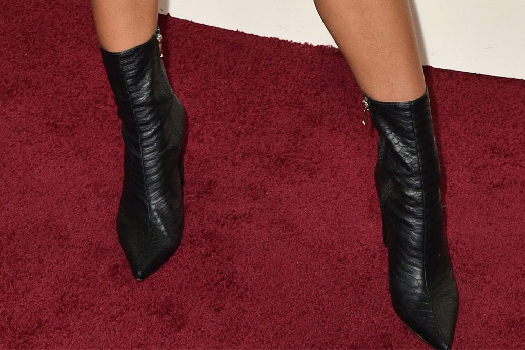 Alexis Ren, black dress, snakeskin boots, Revolve Awards
