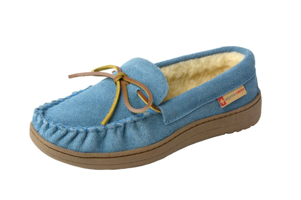 Alpine Swiss Sabine Moccasin Slippers, comfortable moccasin slippers for women