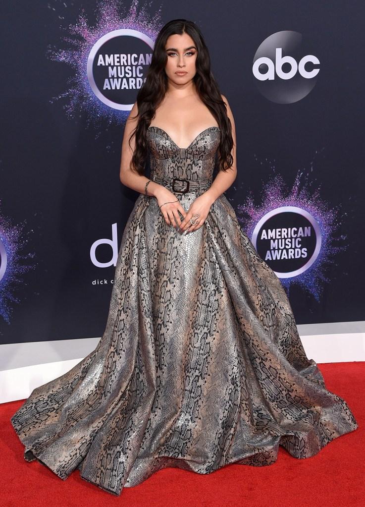 Lauren Jauregui, snakeprint dress, red carpet, celebrity style, Lauren Jaauregul47th Annual American Music Awards, Arrivals, Microsoft Theater, Los Angeles, USA - 24 Nov 2019