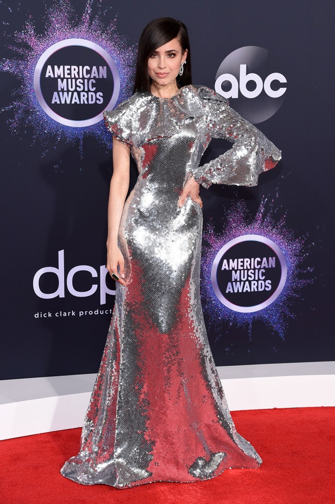 Sofia Carson, Maison Francesco Scognamiglio, silver dress, gown, amas, celebrity fashion, 47th Annual American Music Awards, Arrivals, Microsoft Theater, Los Angeles, USA - 24 Nov 2019