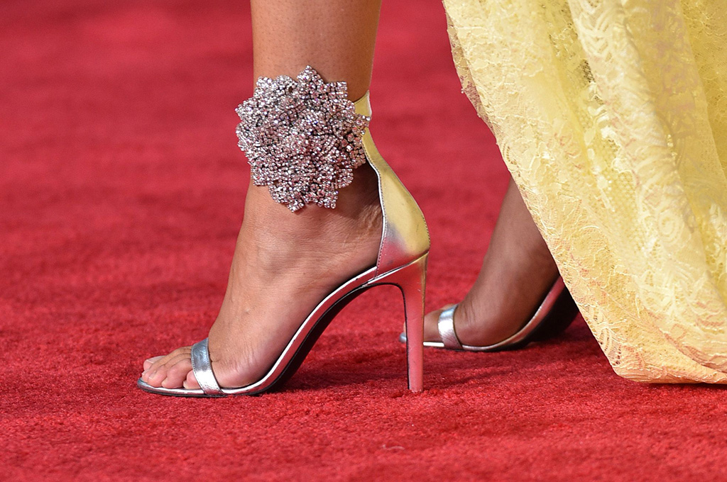 Agnez Mo, shoe detail, giuseppe zanotti, silver stilettos, sandals, floral crystals, red carpet, pedicure, 47th Annual American Music Awards, Arrivals, Microsoft Theater, Los Angeles, USA - 24 Nov 2019