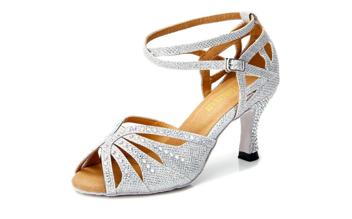 ttdancewear ballroom shoes, crystals, silver