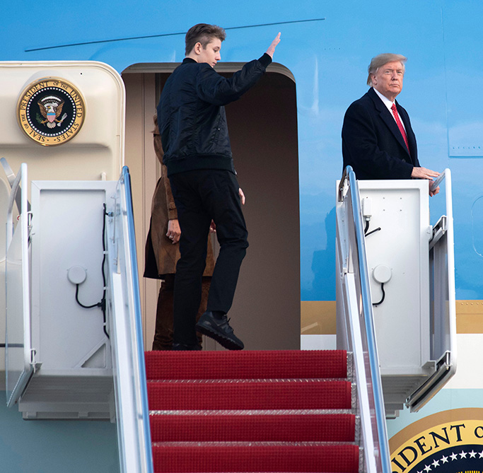 President Donald Trump and Barron Trump board Air Force One, at Andrews Air Force Base, Md. The Trumps are spending the Thanksgiving holiday at their Mar-a-Lago estateTrump - 26 Nov 2019