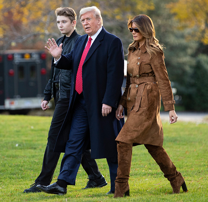 Donald Trump, Melania Trump, Barron Trump. President Donald, first lady Melania Trump, and Barron Trump, walk to board Marine One on the South Lawn of the White House, in WashingtonTrump, Washington, USA - 26 Nov 2019