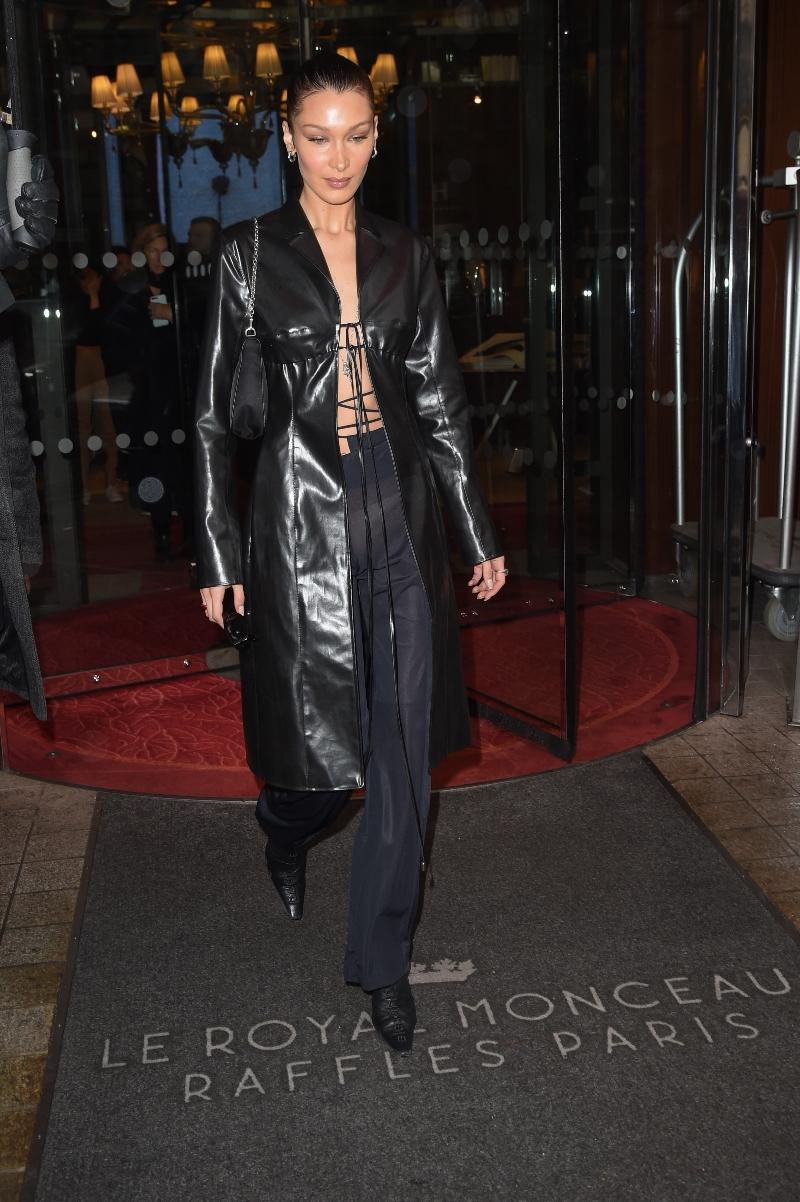 bella hadid, paris, all black, black boots