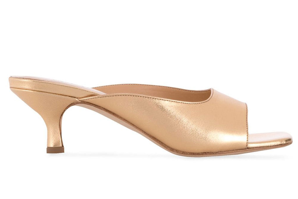 By Far, kosara, slip-on sandals, gold shoes