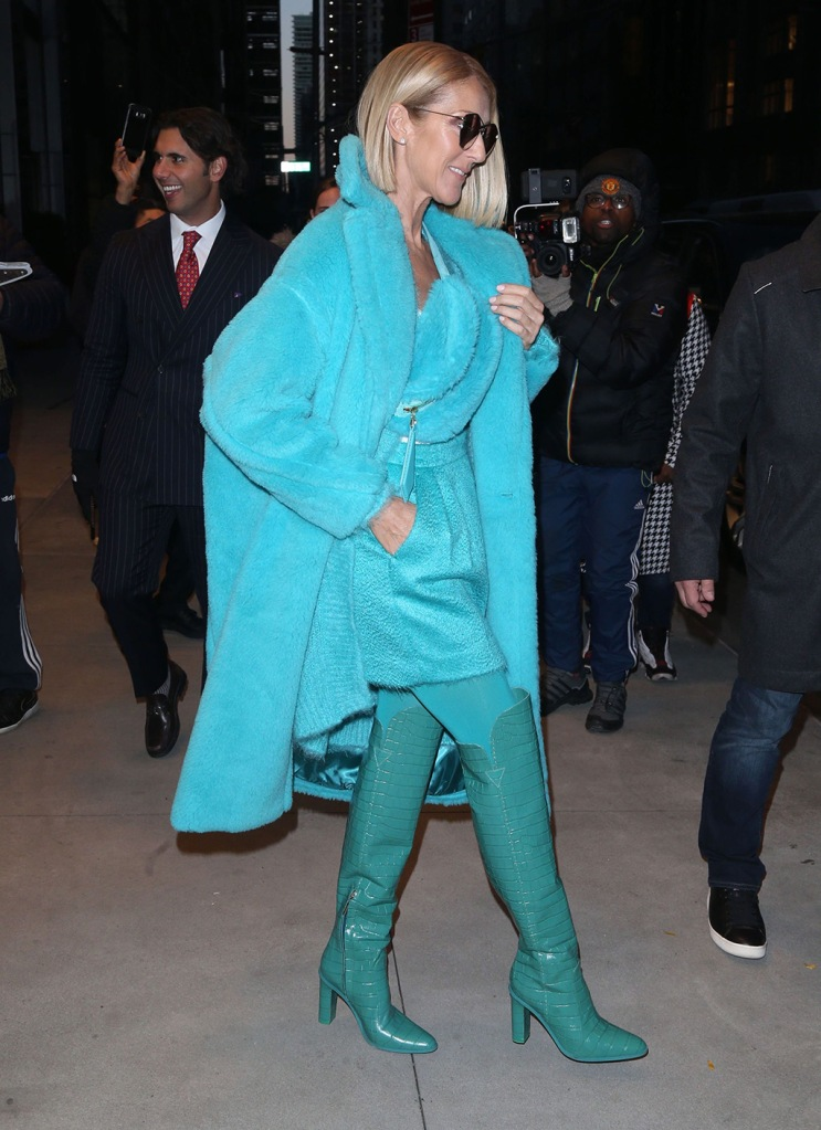 Celine Dion, max mara, fall 2019, thigh-high boots, croc-print boots, bum bag, teddy coat, miniskirt, tights, nyc, street style, celebrity style, turquoise, Celine Dion out and about, New York, USA - 13 Nov 2019Wearing Max Mara Same Outfit as catwalk model *10113148bc