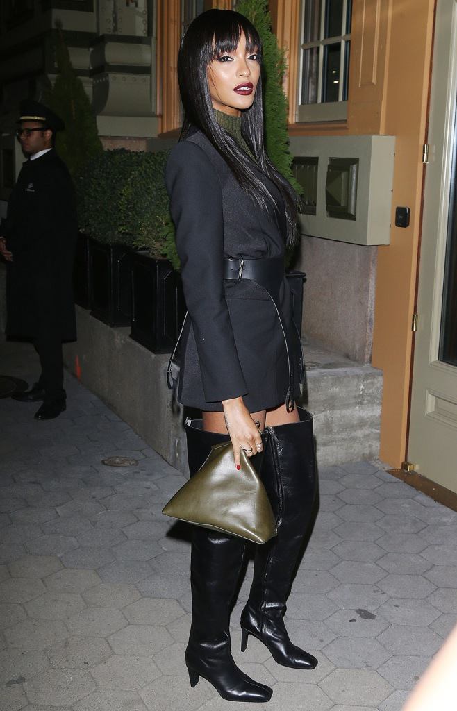 Jourdan Dunn, dion lee, blazer, thigh-high boots, celebrity style, handbag, shoes, CFDA Vogue Fashion Fund Awards, New York, USA - 04 Nov 2019