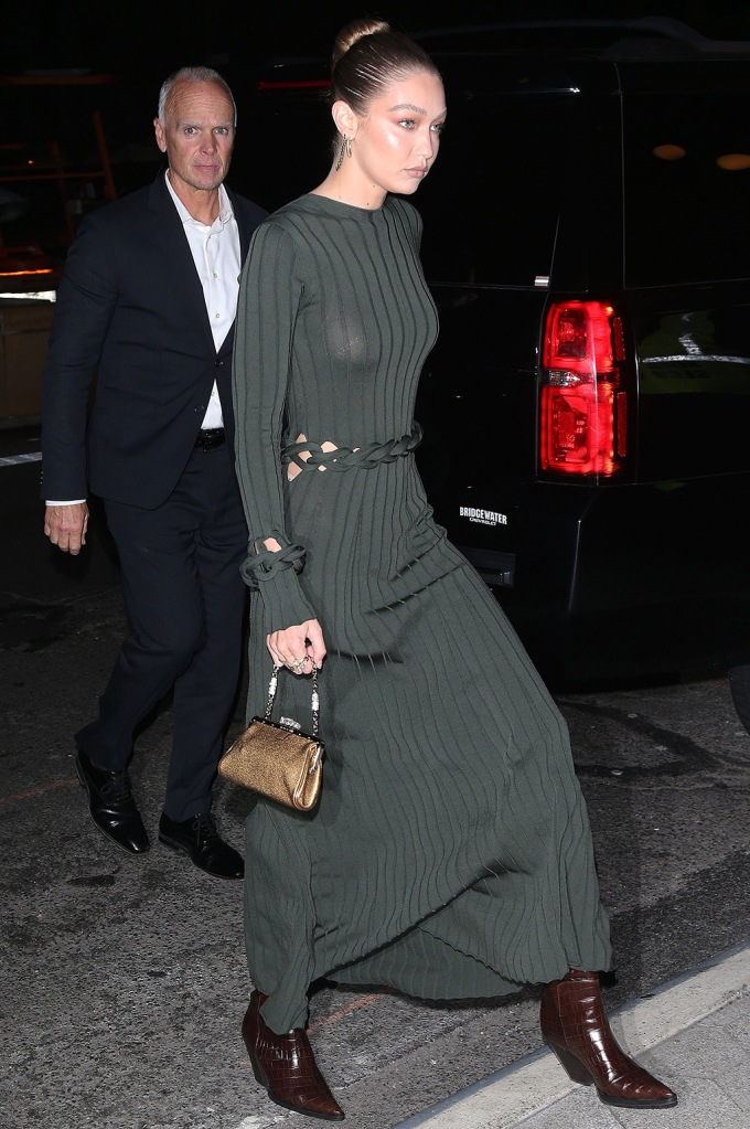 Gigi Hadid, anny nord, western boots, dion lee spring 2020, green dress, celebrity style, CFDA Vogue Fashion Fund Awards, New York, USA - 04 Nov 2019