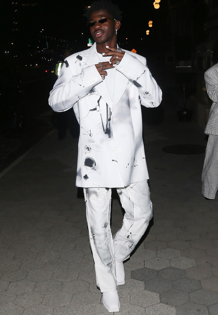 Lil Nas X, off-white, pantsuit, square toed boots, celebrity style, CFDA Vogue Fashion Fund Awards, New York, USA - 04 Nov 2019