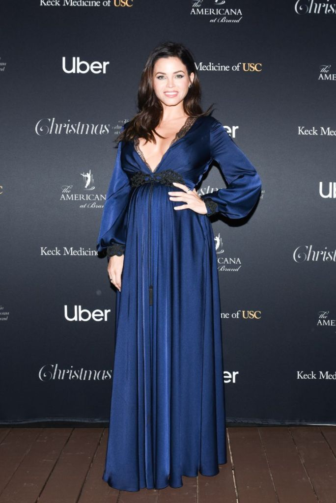 jenna dewan, he Americana at Brand Annual Christmas Show, blue dress, pregnant