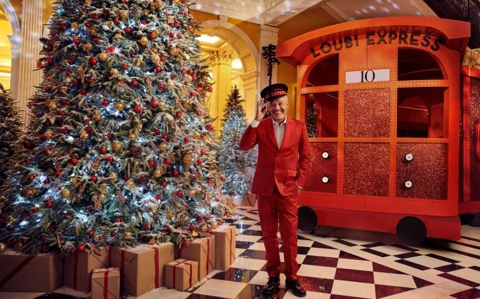 Christian Louboutin, claridges, christmas tree